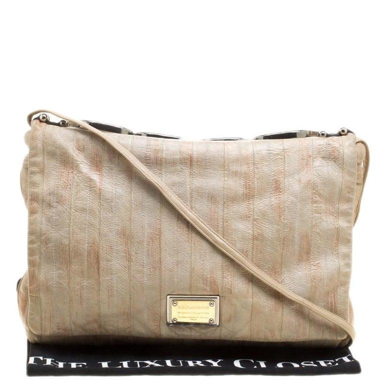 Dolce and Gabbana Beige Leather Miss Deco Shoulder Bag For Sale 8