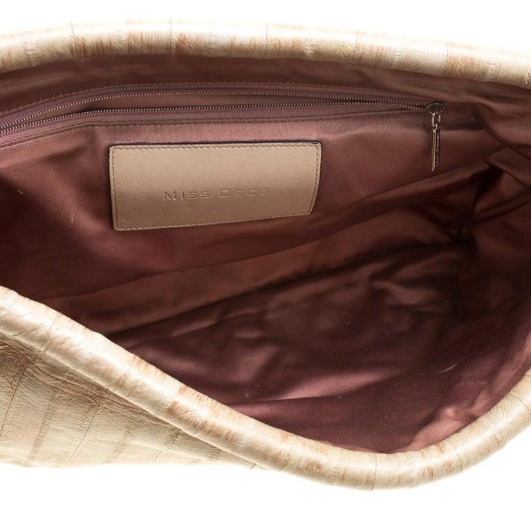 Dolce and Gabbana Beige Leather Miss Deco Shoulder Bag For Sale 2