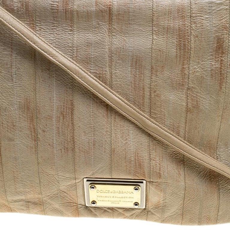 Dolce and Gabbana Beige Leather Miss Deco Shoulder Bag For Sale 3