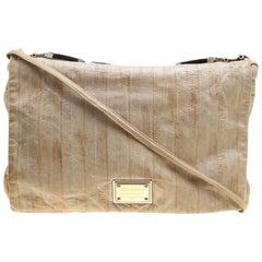 Dolce and Gabbana Beige Leather Miss Deco Shoulder Bag