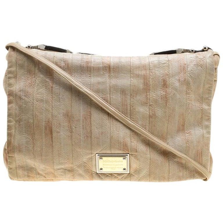Dolce and Gabbana Beige Leather Miss Deco Shoulder Bag For Sale