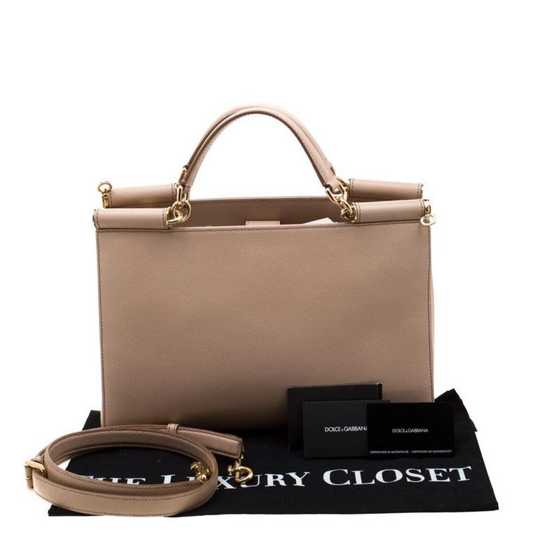Dolce and Gabbana Beige Leather Miss Sicily Top Handle Bag For Sale 7