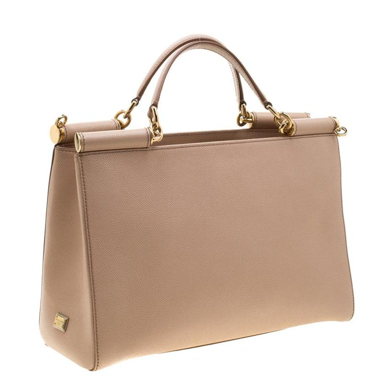 Women's Dolce and Gabbana Beige Leather Miss Sicily Top Handle Bag For Sale
