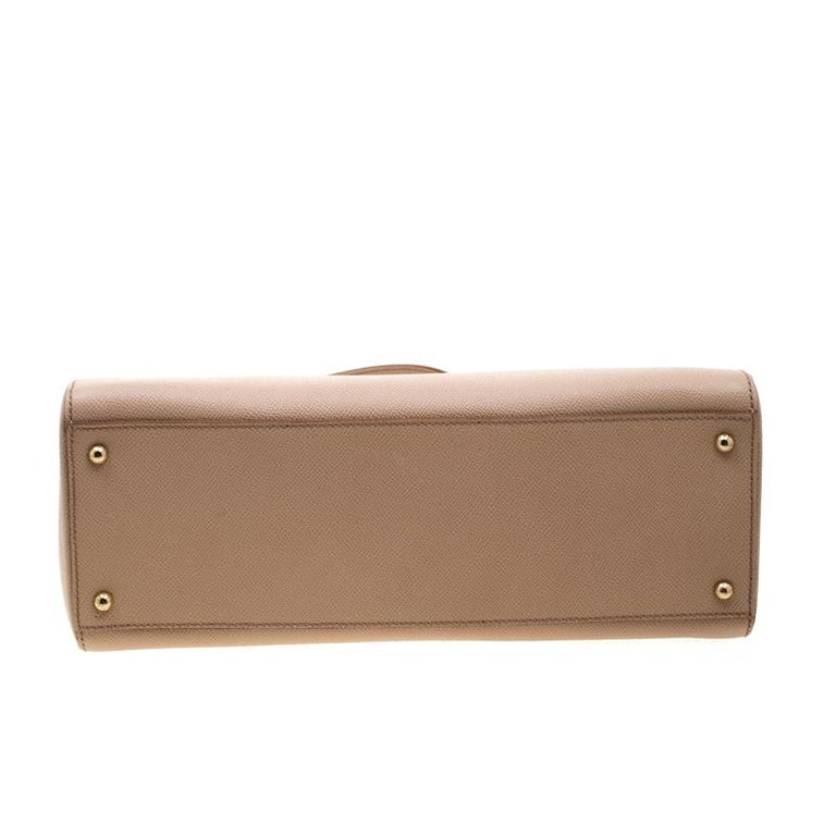 Dolce and Gabbana Beige Leather Miss Sicily Top Handle Bag For Sale 1