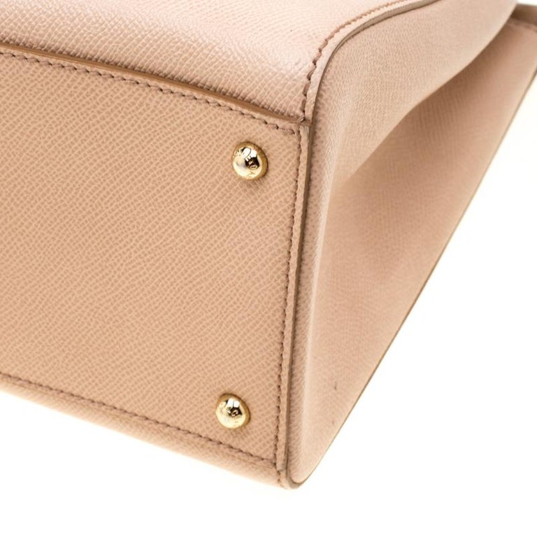 Dolce and Gabbana Beige Leather Miss Sicily Top Handle Bag For Sale 2