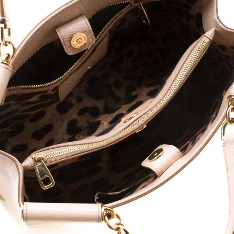 Dolce and Gabbana Beige Leather Miss Sicily Top Handle Bag For Sale 5