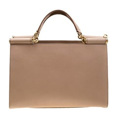Dolce and Gabbana Beige Leather Miss Sicily Top Handle Bag