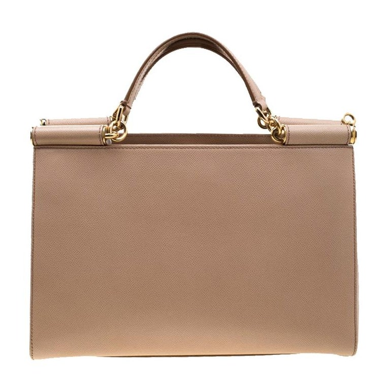 Dolce and Gabbana Beige Leather Miss Sicily Top Handle Bag For Sale