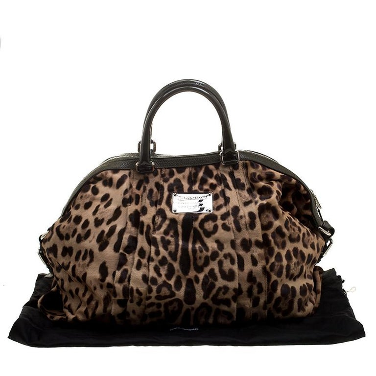Dolce and Gabbana Beige Leopard Print Calfhair Miss Urbanette Satchel For Sale 7