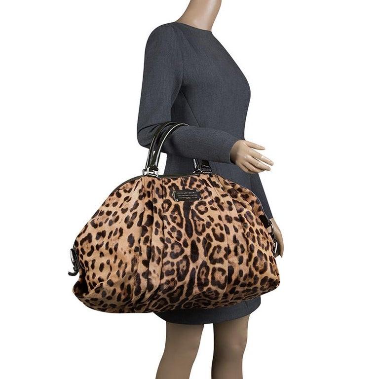 043f60999fd7 Black Dolce and Gabbana Beige Leopard Print Calfhair Miss Urbanette Satchel  For Sale