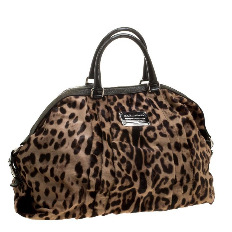 Women's Dolce and Gabbana Beige Leopard Print Calfhair Miss Urbanette Satchel For Sale