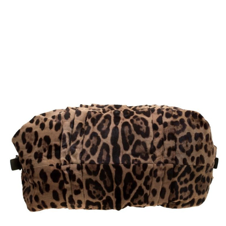 Dolce and Gabbana Beige Leopard Print Calfhair Miss Urbanette Satchel For Sale 1