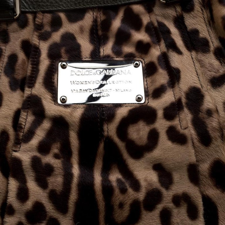 Dolce and Gabbana Beige Leopard Print Calfhair Miss Urbanette Satchel For Sale 3