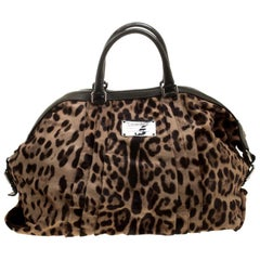 Dolce and Gabbana Beige Leopard Print Calfhair Miss Urbanette Satchel