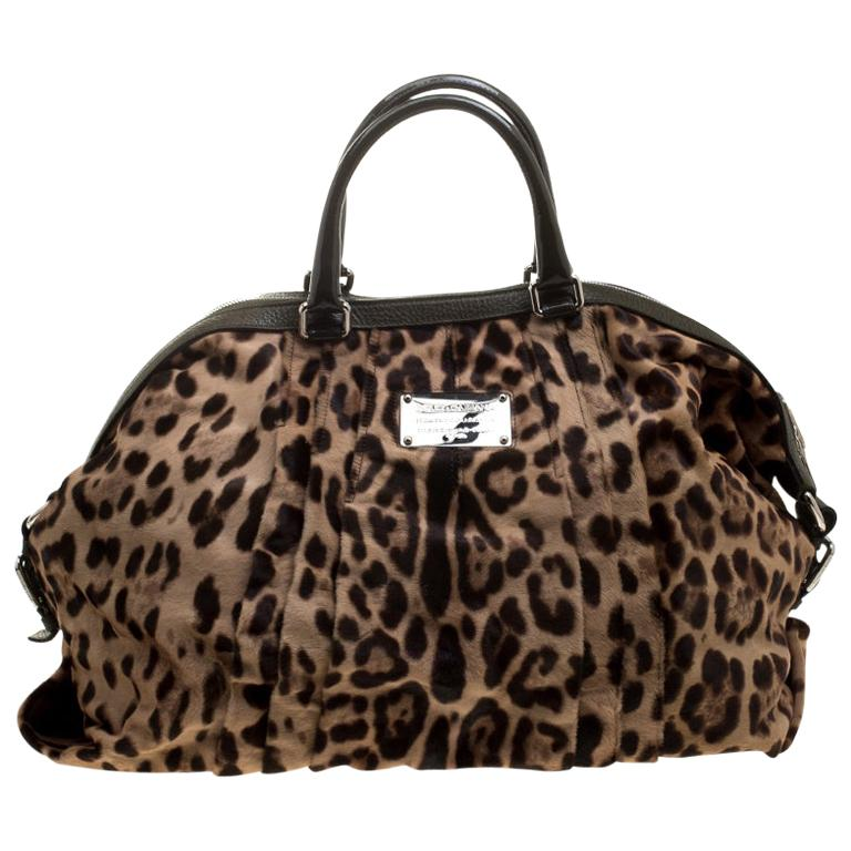 Dolce and Gabbana Beige Leopard Print Calfhair Miss Urbanette Satchel For Sale