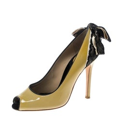 Dolce and Gabbana Beige Patent Leather Lace Bow Detail Peep Toe Pumps Size 36.5