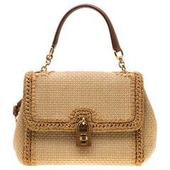 Dolce and Gabbana Beige Raffia and Leather Miss Dolce Tote