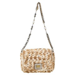Dolce and Gabbana Beige Raffia Miss Charles Flap Shoulder Bag