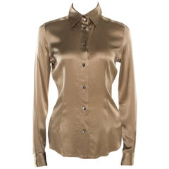 Dolce and Gabbana Beige Silk Satin Long Sleeve Button Front Shirt S