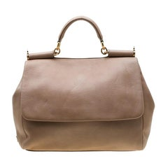 Dolce And Gabbana Beige Soft Leather Large Miss Sicily Tote
