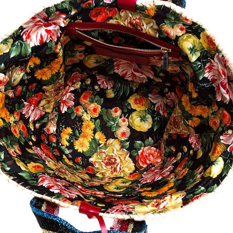 Dolce and Gabbana Beige Woven Raffia Kendra Bucket Bag For Sale 6