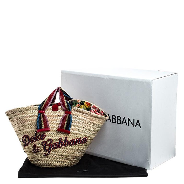 Dolce and Gabbana Beige Woven Raffia Kendra Bucket Bag For Sale 8