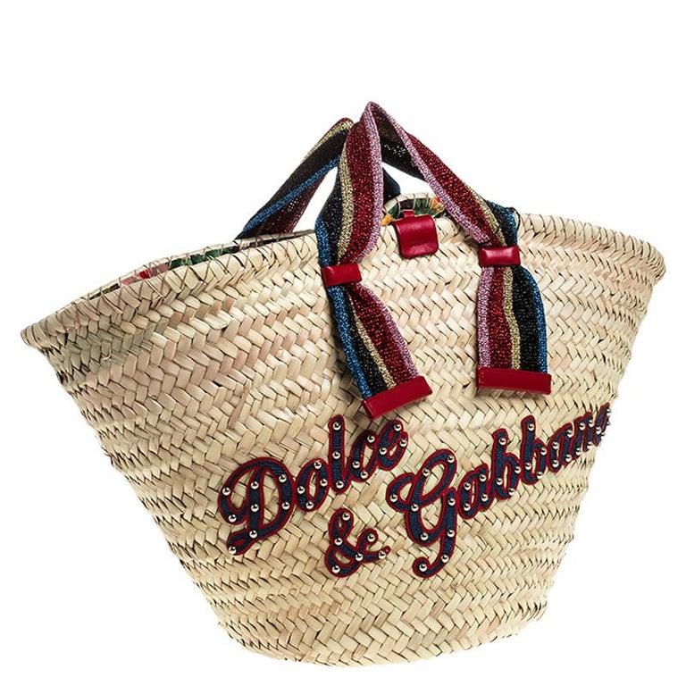 Women's Dolce and Gabbana Beige Woven Raffia Kendra Bucket Bag For Sale