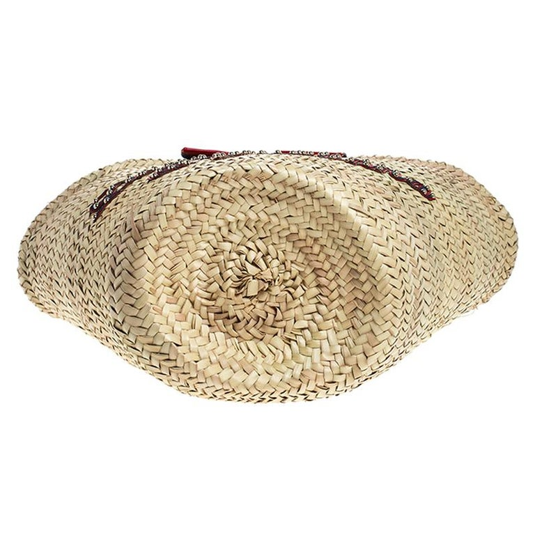 Dolce and Gabbana Beige Woven Raffia Kendra Bucket Bag For Sale 1