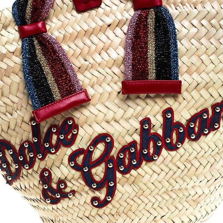 Dolce and Gabbana Beige Woven Raffia Kendra Bucket Bag For Sale 4