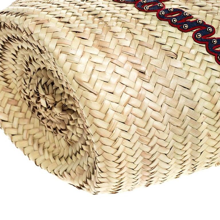 Dolce and Gabbana Beige Woven Raffia Kendra Bucket Bag For Sale 5