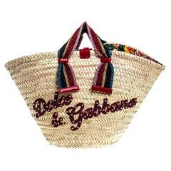 Dolce and Gabbana Beige Woven Raffia Kendra Bucket Bag