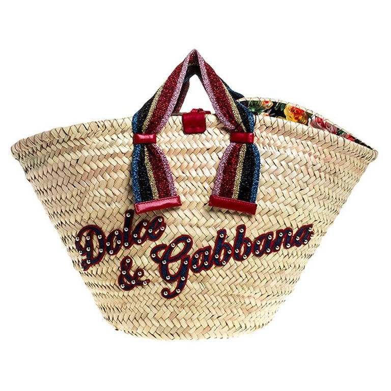 Dolce and Gabbana Beige Woven Raffia Kendra Bucket Bag For Sale