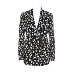 Dolce and Gabbana Black and White Floral Printed Crepe Tailored Blazer S
