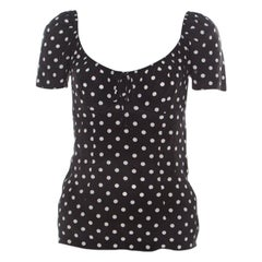 Dolce and Gabbana Black and White Polka Dot Printed Silk Bow Detail Top S