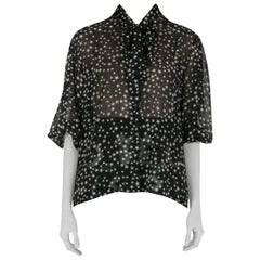 Dolce and Gabbana Black and White Star Print Neck Tie Detail Blouse M