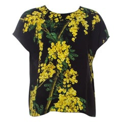 Dolce and Gabbana Black and Yellow Floral Acacia Print Crepe French Sleeve Top M