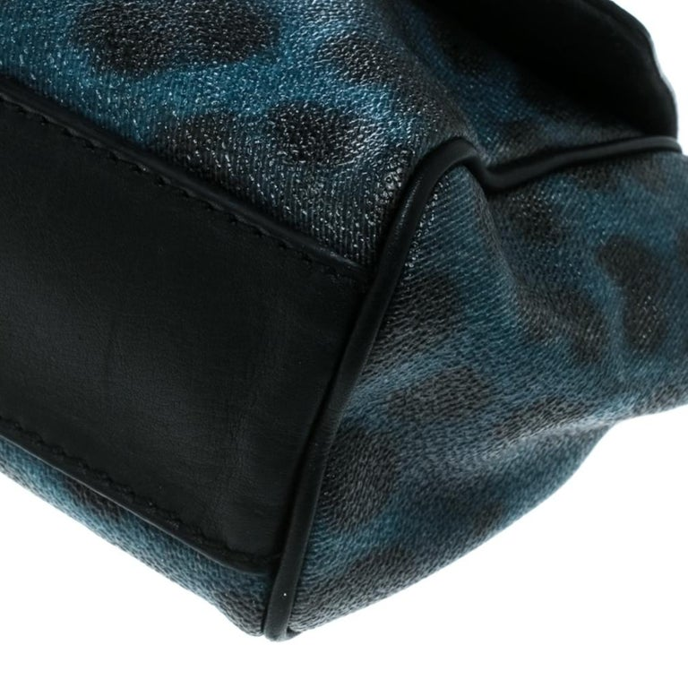 Women's Dolce and Gabbana Black/Blue Animal Print Leather Mini Sicily Top Handle Bag For Sale