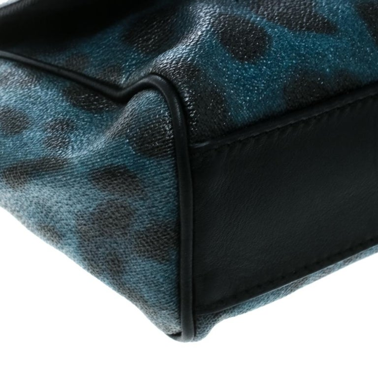Dolce and Gabbana Black/Blue Animal Print Leather Mini Sicily Top Handle Bag For Sale 1
