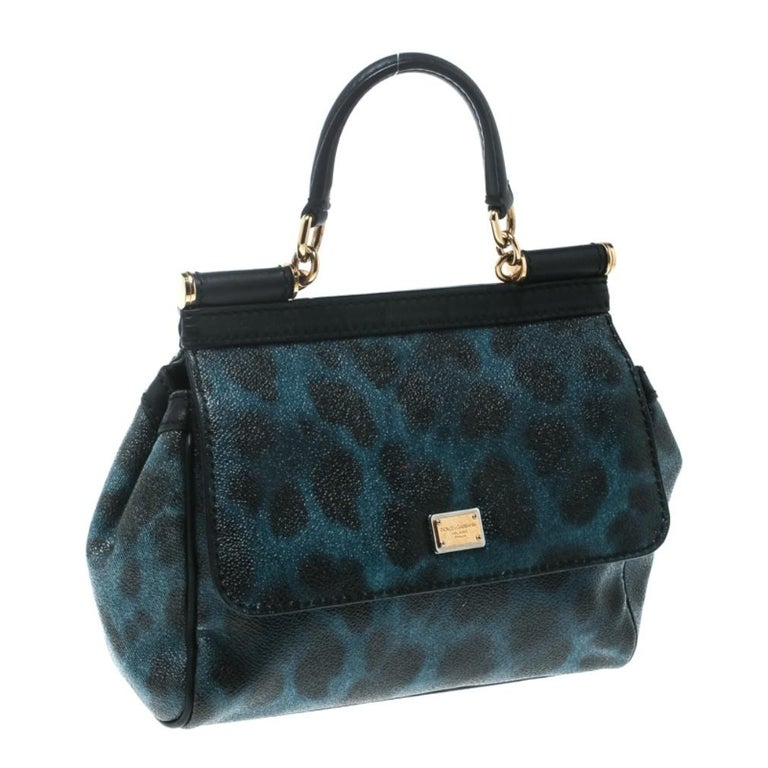 Dolce and Gabbana Black/Blue Animal Print Leather Mini Sicily Top Handle Bag For Sale 4