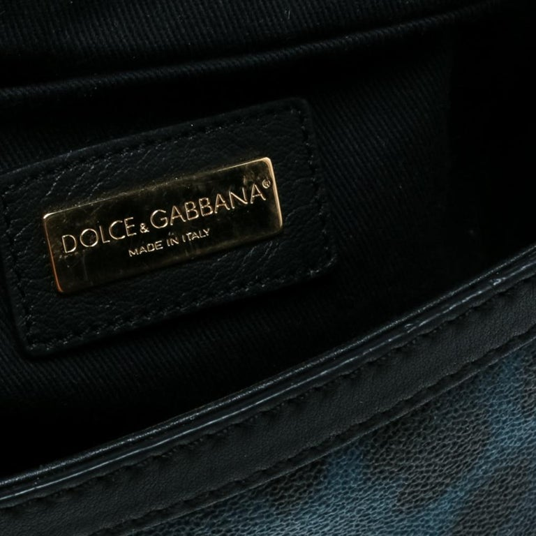 Dolce and Gabbana Black/Blue Animal Print Leather Mini Sicily Top Handle Bag For Sale 5