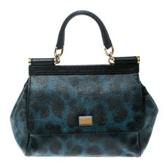 Dolce and Gabbana Black/Blue Animal Print Leather Mini Sicily Top Handle Bag