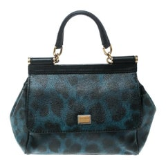 Dolce and Gabbana Black/Blue Animal Print Leather Mini Sicily Top Handle Bag