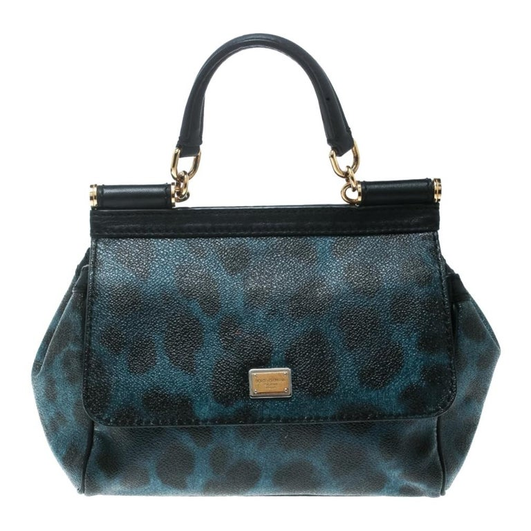 Dolce and Gabbana Black/Blue Animal Print Leather Mini Sicily Top Handle Bag For Sale