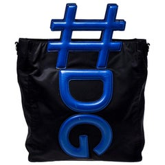 Dolce and Gabbana Black/Blue Nylon and Leather Hashtag Tote