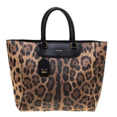 062b3b35e0c Dolce and Gabbana Black/Brown Leopard Print Leather Lucia Shopper Tote