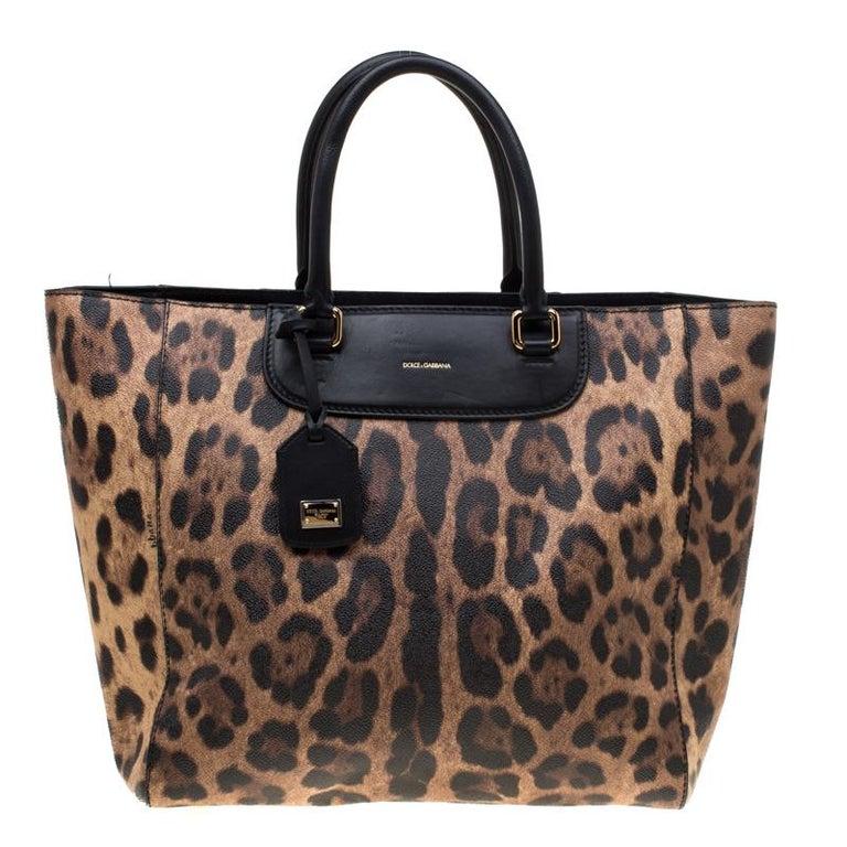 4fa2258bf177 Dolce and Gabbana Black/Brown Leopard Print Leather Lucia Shopper Tote For  Sale