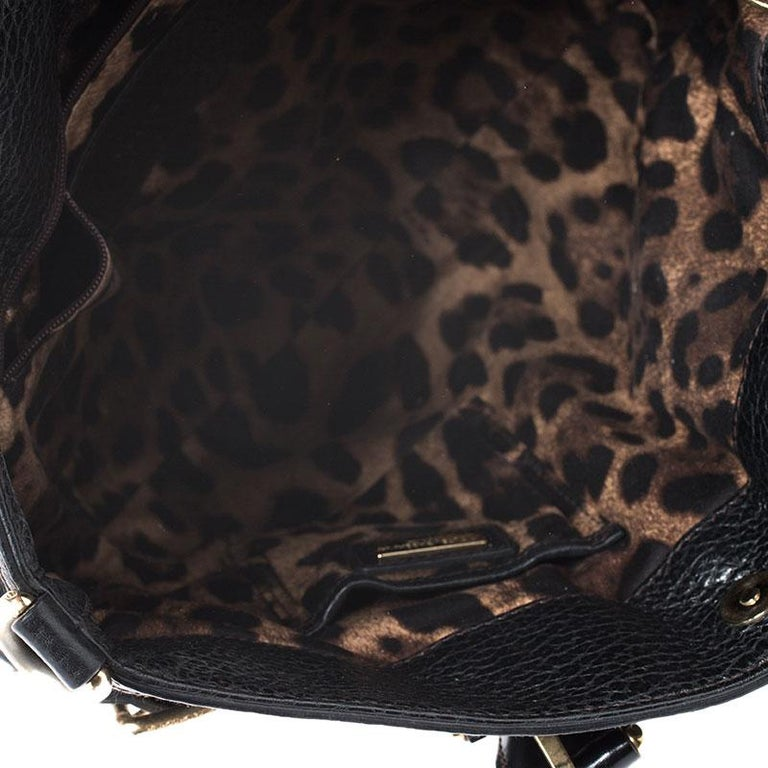 Dolce and Gabbana Black Calfhair and Leather Miss Mary Hobo For Sale 6