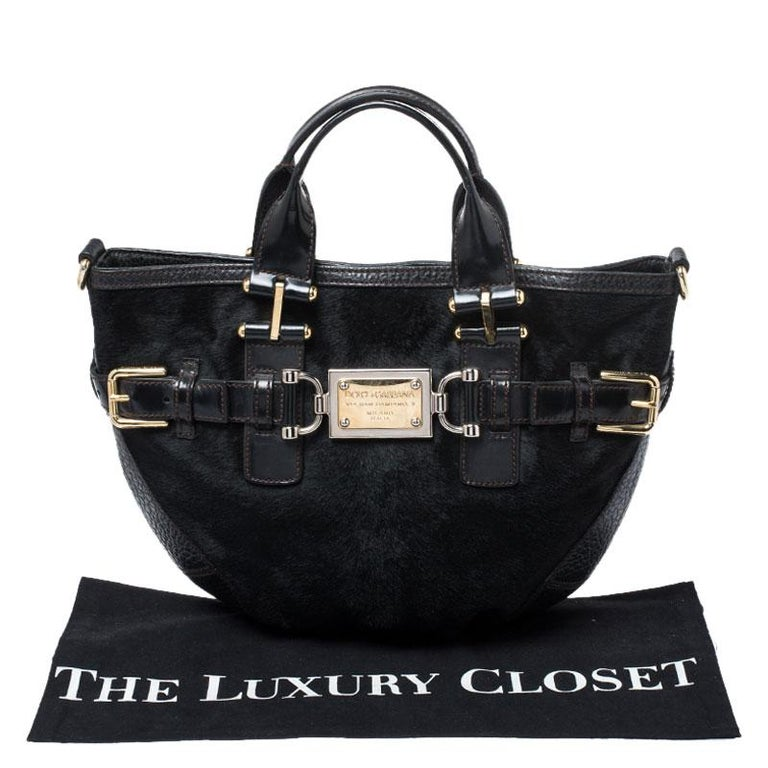 Dolce and Gabbana Black Calfhair and Leather Miss Mary Hobo For Sale 8
