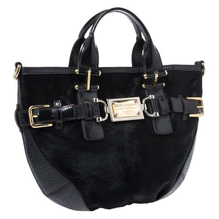 Women's Dolce and Gabbana Black Calfhair and Leather Miss Mary Hobo For Sale