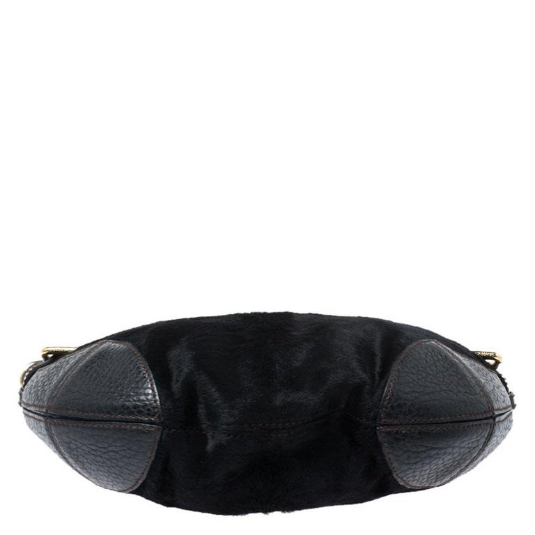 Dolce and Gabbana Black Calfhair and Leather Miss Mary Hobo For Sale 1